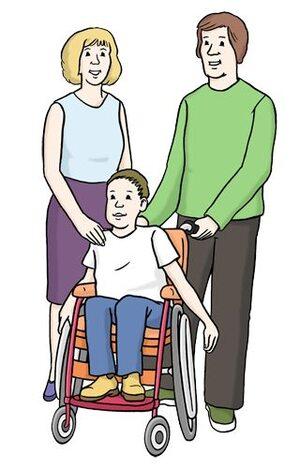 Familie mit Kind im Rollstuhl