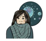 Frau mit Virus