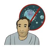 Mann mit Virus