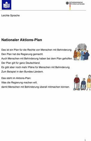 aktionsplan leichte sprache