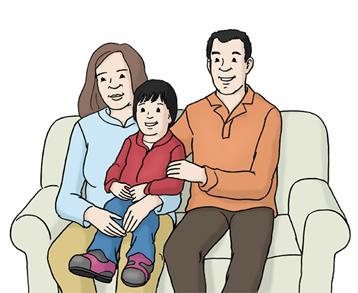 Eltern mit Kind auf Sofa
